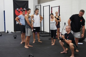 Goblet Squat instruction, Andrew Read and Shaun Cairns